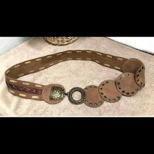 🌺Leatherock Brown Concho Leather Jeweled Belt